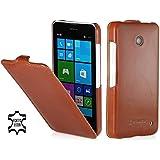 StilGut UltraSlim Case, Tasche aus Leder für Nokia Lumia 630 / 630 Dual SIM, cognac