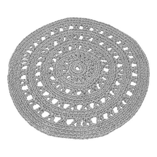 Naco comercio árabe Crochet Alfombra de escala de grises, tamaño mediano, color gris