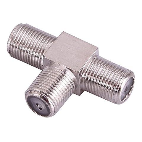 TV-Splitter / SAT-Verteiler [ 2-fach T-Adapter für Satelliten-Anlagen für den Frequenz-Bereich 5-2400 MHz ] Satelliten-Verteiler / 2-Wege-Splitter für Fernsehen / Fernseher / Fernsehgeräte   Vollmetallgehäuse   3x IEC-Buchse / F-Buchse ( TV Antenne weiblich )   Movoja®   (Sat Anlage Verteiler)
