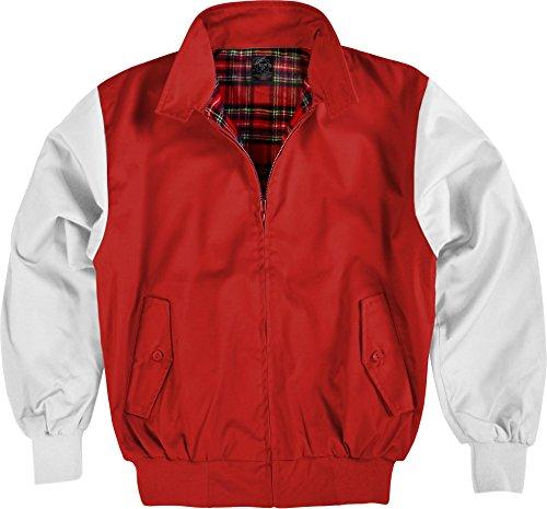Herren Klassisch Trendige 1970er Vintage Harrington Scooter Bomber College Jacke Farbe Rot/Weiß Größe XL