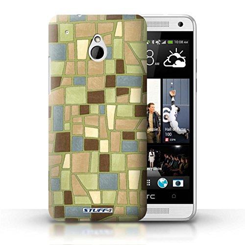 Kobalt® Imprimé Etui / Coque pour HTC One/1 Mini / Gris/Blanc conception / Série Carrelage Mosaïque Vert/Brun
