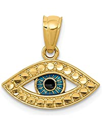 14k Yellow Gold Enameled Eye Pendant Charm Necklace Good Luck Italian Horn Fine Jewelry For Women Gift Set