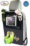 Termichy Auto-Rückenlehnenschutz, Rückenlehnen-Tasche, Trittschutz mit Rücksitz-Organizer, Rücksitzschoner, Kick-Matten-Schutz für den Autositz mit durchsichtigem extra großen iPad-Tablet-Halter (2 Stück)