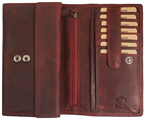 Hill Burry Damen Geldbörse | XXL Echt Leder Brieftasche - Vintage Langes Portemonnaie (Rot)