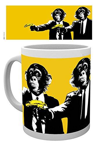 empireposter - Monkey - Monkeys Banana - Größe (cm), ca. Ø8,5 H9,5cm - Lizenz Tassen, NEU - Beschreibung: - Style with ease - Affe mit Kopfhörer - Keramik Tasse, weiß, bedruckt, Fassungsvermögen 320 ml, offiziell lizenziert, spülmaschinen- und mikrowellenfest -