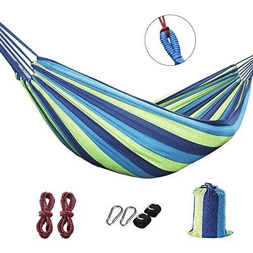 LUBINXUN Einzel-/Doppel-Hängematte für 2 Personen, einzeln, Baumwollstoff Segeltuch, Ultraleicht, Camping Hängematte, tragbare Strandschaukel, blau, 200cmx80cm