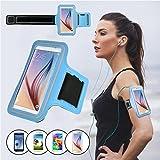 SAVFY® Bleu Brassard Armband Sport pour Samsung Galaxy S5 / S6 / S6 Edge pour le Jogging / Gym / Sport - confortable avec sangle réglable