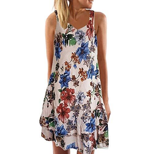 SEWORLD Kleid Damen Sommerkleid Abendkleid Strandkleid Party Kleider Ärmelloses Boho Kleid mit V-Ausschnitt Lose T-Shirtkleid Gedrucktes Minikleid Neckholder Kleider(Rosa,EU-44/CN-3XL) Neckholder-kleid
