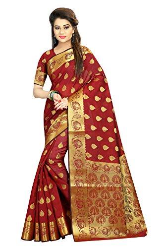 J B Fashion Women\'s cotton-jacquard maroon saree with blouse piece
