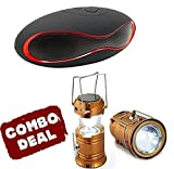 #5: Easypro™ All Leading Smartphone Compatible Mini Bluetooth Multimedia Speaker System with FM/Pen Drive/Micro-SD - Rugby Mini X1521with LED Solar Emergency Light Bulb (Lantern) - Travel Camping Lantern