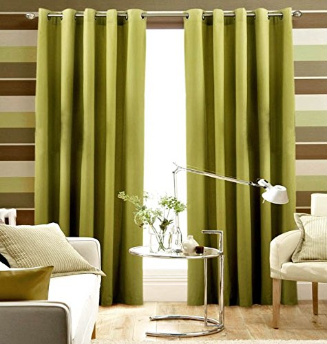 Pair Of Plain LIME Green Eyelet Ring Top BLACKOUT / DIMOUT Curtains 53″ X 72″
