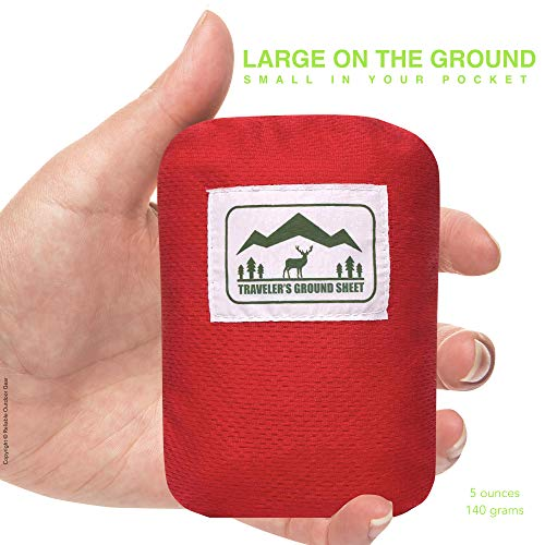 """Pocket Blanket"" (Traveler's Ground Sheet) for Hiking, Camping, Beach and Picnic – Water Resistant, Compact Storage Pouch, Weights 140 grams, Measures 1.9 x 1.27 meters … - 2"