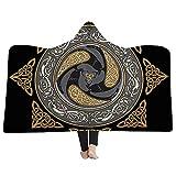 EVEYYWY Personnalité 3D Cape à Capuchon Couverture Tribal Viking Throw Blanket Cape MagicAdulte Capuche couvertures Couverture Chaude Enfants Manteau à Capuche Manteau Chaud-L (150cm * 200cm)