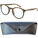 Klassische Nerd Lesebrille mit großen runden Gläsern - mit GRATIS Etui | Kunststoff Rahmen (Tortoise braun) | Lesehilfe für Damen und Herren | +1.5 Dioptrien