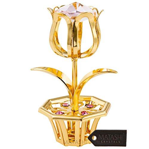 Placcato oro 24k tulipano, da tavolo con cristalli rosa matashi | decorativo, in metallo lucido opera con vaso base | elegante ufficio o casa décor