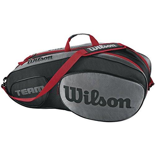 Wilson Damen/Herren Tennis-Tasche, für Profispieler, Team III 6 PK, Einheitsgröße, schwarz/grau, WRZ853806 (Tennis-taschen Wilson)
