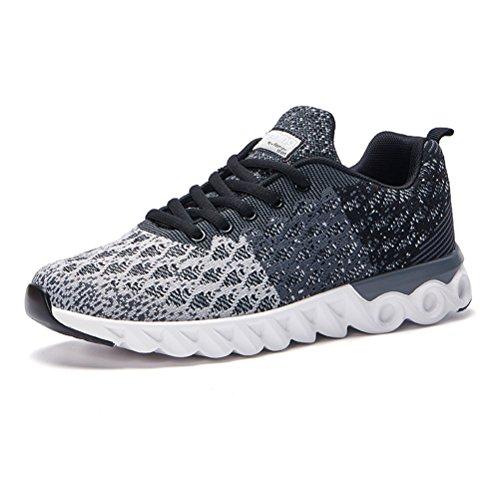 Herren Ultraleicht atmungsaktiv Tennisschuhe Turnschuhe Freizeitschuhe Laufschuhe Sportschuhe Sneakers, Farbe Grau, Größe 40 EU