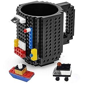 VANUODA Build on Brick Mug, Building Blocks Tasse Puzzle Becher, Geschenk zur Einschulung Schulanfang, Weihnachten Geschenk Idee (Schwarz)