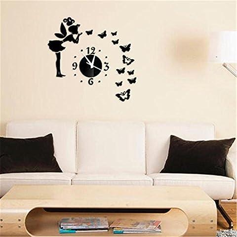 Adesivi e murali da parete Orologio da parete acrilico a orologio Angel Beauty Butterfly e figura orologio da parete smontabile DIY acrilico 3D Mirror decalcomania Wall Sticker decorazione domestica , B