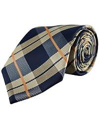 Cravate pour homme Tartan écossais Champagne Gold & rayures Bleu