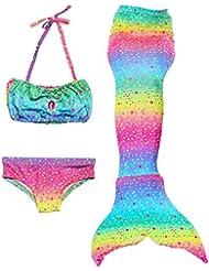 Le SSara Las muchachas cosplay traje de baño sirena Shell traje de baño 3pcs bikini conjuntos