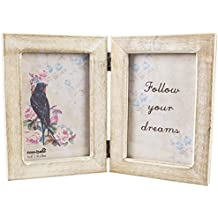 Sass & Belle rústico marco doble de fotos de madera, blanco/marrón