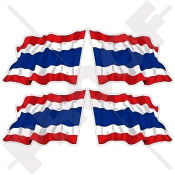THAILAND Flag Thai SIAM Siamese 4 Decals x2 Vinyl Bumper Stickers 100mm