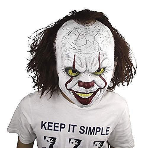 Kostüm Adult Maske Puppe Clown - Horrormaske Halloween Karneval Party Kostüm Clown Maske des Grauens aus Latex für Erwachsene@Pennywise,Gruselige Maske