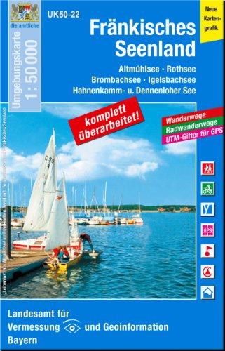 Fränkisches Seenland 1 : 50 000: Altmühlsee - Rothsee, Brombachsee - Igelsbachsee, Hahnenkamm- u. Dennenloher See. Wanderwege, Radwanderwege, ... Karte Freizeitkarte Wanderkarte)