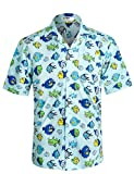 APTRO Herren Hemd Strandhemd Hawaiihemd Kurzarm Urlaub Hemd Freizeit Reise Hemd Party Hemd BT014 XXL