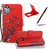 Strap Leather Case for Samsung Galaxy A3 2017 A320,Portable Wallet Case for Samsung Galaxy A3 2017 A320,Herzzer Bookstyle Retro Brilliant Butterfly Flower Pattern Stand Magnetic Smart Leather Case with Soft Inner for Samsung Galaxy A3 2017 A320 + 1 x Free Red Cellphone Kickstand + 1 x Free Claret-Red Stylus Pen - Red