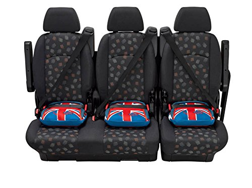 """BubbleBum Travel Car Booster Seat, Group 2/3, Union Jack Bubblebum The world's first inflatable & packable, portable & safe car booster seat for children aged 4 - 11, 15 - 36kg - the globally award-winning child safety booster seat Approved to the EU Safety Standard R44.04 for both Groups 2 and 3 Narrow, light and foldable design makes this perfect for travel, taxis, car rental, car sharing and tight """"three across"""" fits 8"""