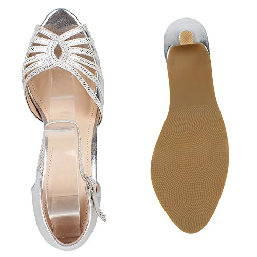 Damen Plateau Sandaletten | Strass High Heels | Metallic Sandalen Stiletto | Abendschuhe Spitze Silber
