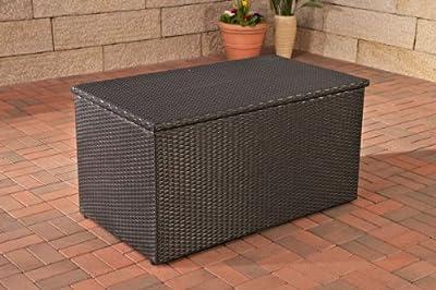 Auflagenbox, Kissenbox, Gartentruhe XL, Polyrattan ~ schwarz