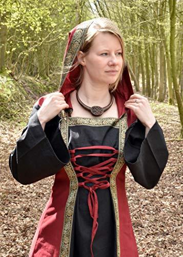 Mittelalterkleid Eleanor mit Kapuze, rot/schwarz – Mittelalter Kleid, LARPkleid, Wikingerkleid Größe M - 3