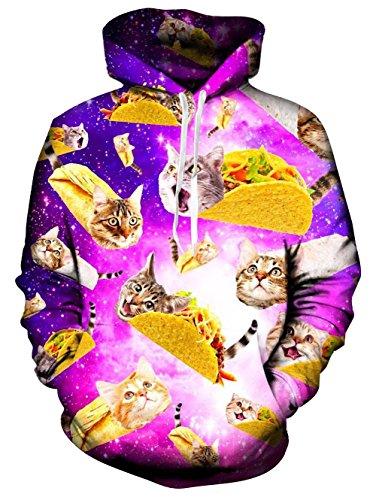 Spreadhoodie 3D Print Pullover Hoodie Herren Damen Funky Pilot Cat Graphic Langarm Kapuzenpullover mit Tunnelzug Hoody Blau S