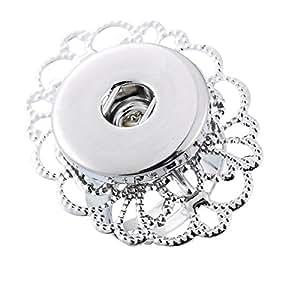 1 Bague Anneau Reglable Support Fleur Pour Bouton Pression Click Clique Bouton Bijoux Creation 17.3mm(US Size 7)