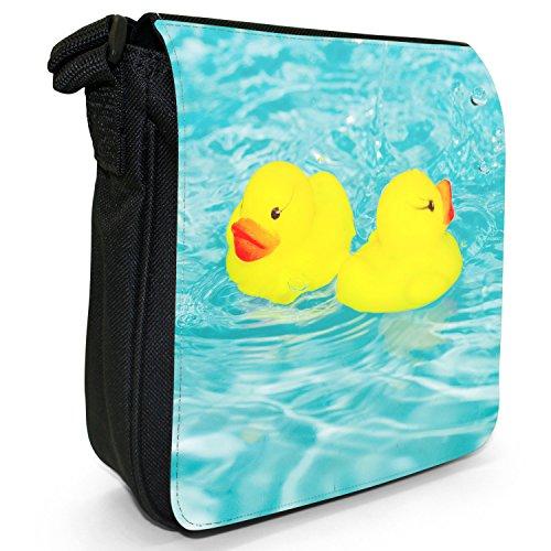 Quietscheenten Schaumbad Kinder Spielzeug Kleine Schultertasche aus schwarzem Canvas Synchronschwimmen der Enten