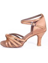 Roeua femenino ES7-F17 satín latino la danza el zapato