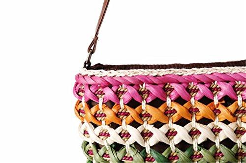 Strisce Borsa a tracolla di spalla Borse da Rainbow Ladies Grande Simplism & Stylish Woven Women fashion Tote Simple Beach Tote , rose red rose red
