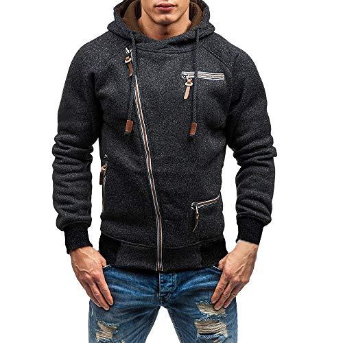Herren Kapuzenjacke Jacke mit Reißverschluss,Hevoiok Mode Casual Herbst Winter Langarm Hoodie Männer Pullover Kühl Sweatshirt Kapuzenpullis Top mit Kapuze (Schwarzer, XL)