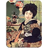 Vintage japonés cerveza anuncio Póster alfombrilla de ratón. Geisha Kimono mujer alfombrilla de ratón