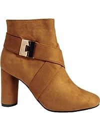 Las Mujeres Negro Moda Oro Hebilla Tobillo Botas Tacones Zapatos Tamaño 3-8 UK4/EURO37/AUS5/USA6