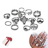 Jurxy - Juego de 14 anillos de nudillos para mujer, diseño vintage, con diamantes de imitación, diseño de corazón, tortuga, color plateado