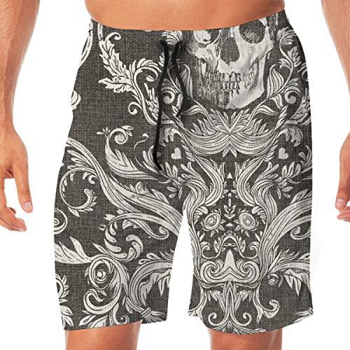 OOworld Herren Strand Shorts Dread Damast In Schwarz Jute Schädel Badehose Quick Dry Pants mit Taschen, L