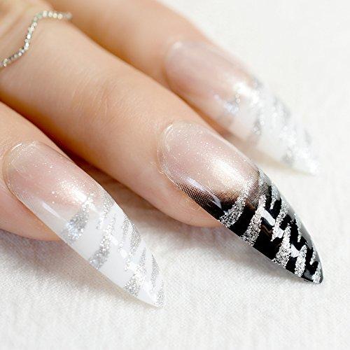 echiq lang Stiletto Nagel Tipps Weiß Schwarz Zebra Muster French False Nägel mit Silber Glitzer Sharp Fake Nail Arts für Salon Party