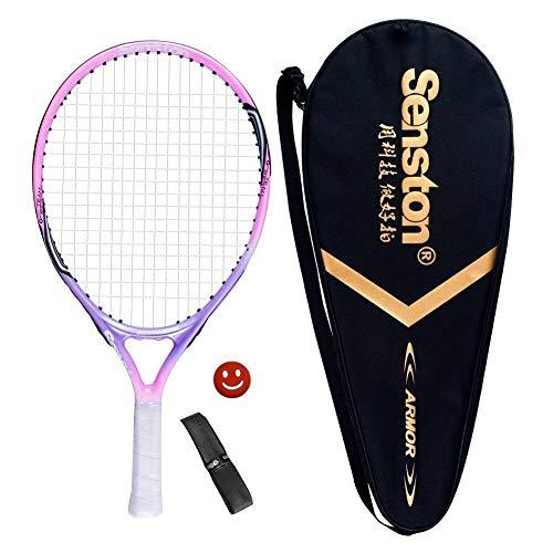 Senston Kinder Tennisschläger Junior Tennis Schläger Set mit Tennistasche,Overgrip,Vibrationsdämpfer,Rosa -