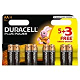 Duracell MN1500 Plus Power Alkaline Battery AA Size, 5 + 3 Free Batteries