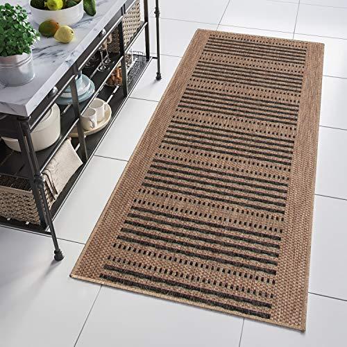 Tapiso kitchen tappeto passatoia al metro sisal cucina corridoio entrata casa moderno nero beige a righe indoor 80 x 380 cm
