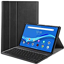 IVSO Keyboard Case for Lenovo Tab M10 Plus (QWERTY), Slim PU Case with Detachable Wireless Keyboard for Lenovo Tab M10 Plus TB-X606F, Black